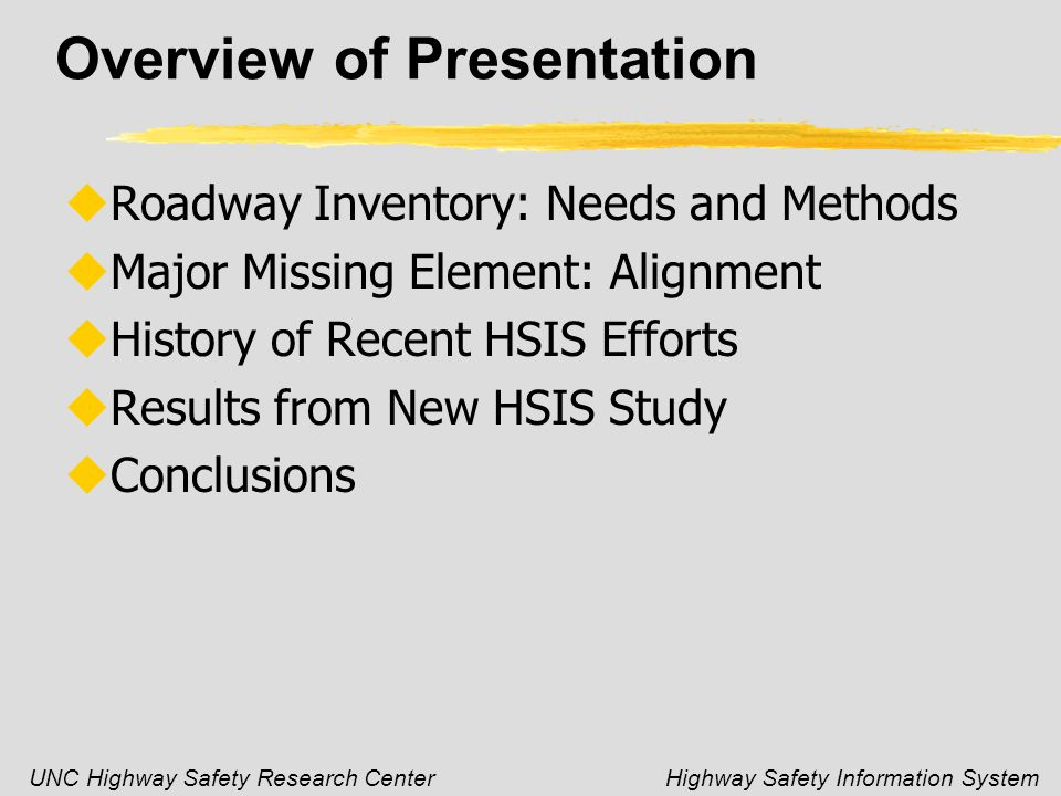 UNC Highway Safety Research CenterHighway Safety Information System Overview of Presentation uRoadway Inventory: Needs and Methods uMajor Missing Element: Alignment uHistory of Recent HSIS Efforts uResults from New HSIS Study uConclusions