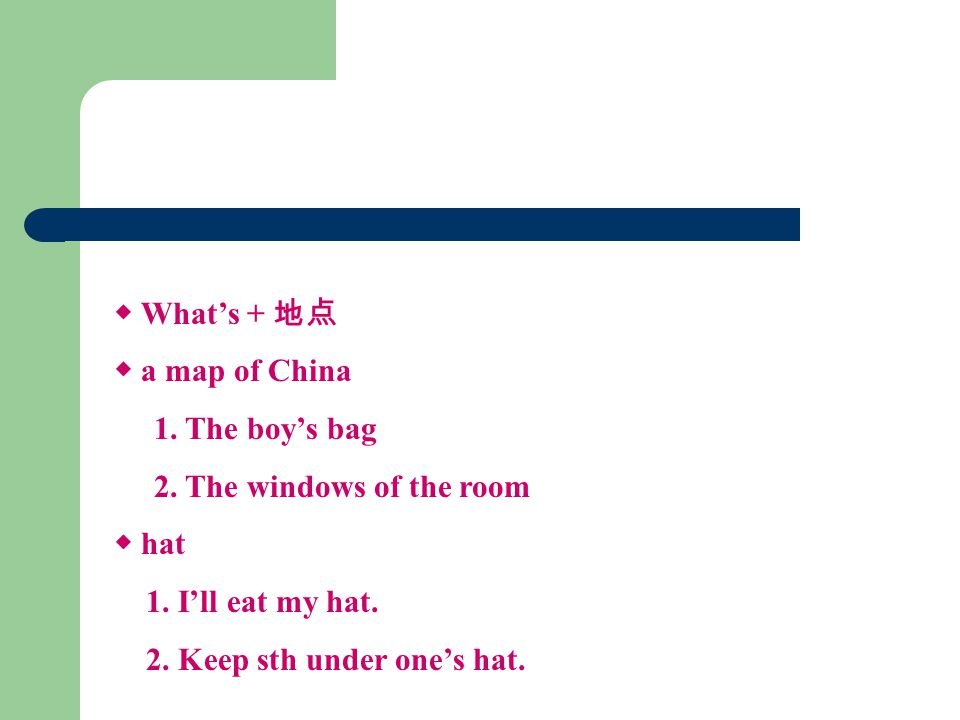 ◆ What's + 地点 ◆ a map of China 1. The boy's bag 2.