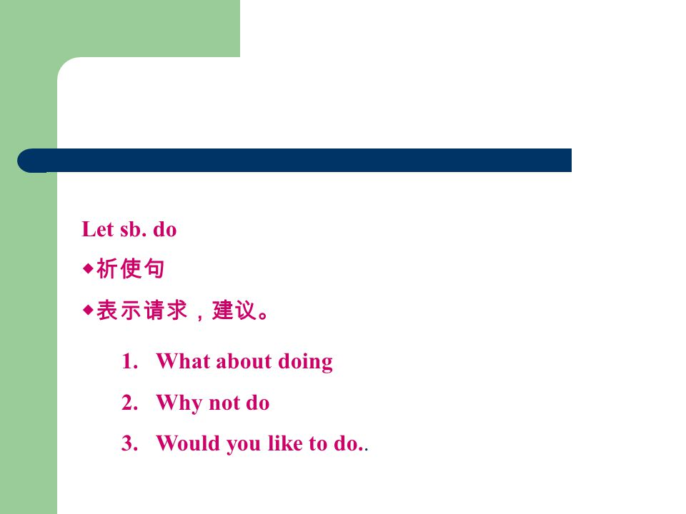 Let sb. do ◆祈使句 ◆表示请求,建议。 1.What about doing 2.Why not do 3.Would you like to do..