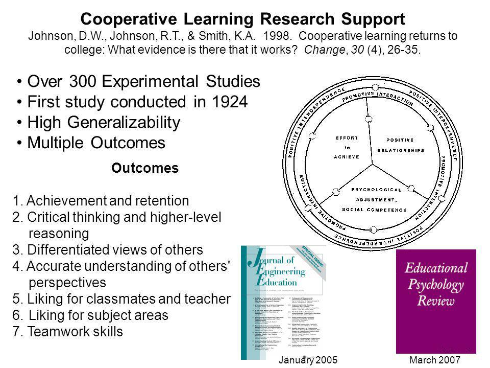 Cooperative Learning Research Support Johnson, D.W., Johnson, R.T., & Smith, K.A.