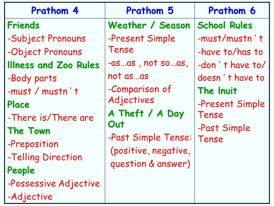 Prathom 4 Prathom 5 Prathom 6 Friends -Subject Pronouns -Object Pronouns lllness and Zoo Rules -Body parts -must / mustn ' tPlace -There is/There are The Town -Preposition -Telling DirectionPeople -Possessive Adjective -Adjective Weather / Season -Present Simple Tense -as…as, not so…as, not as…as -Comparison of Adjectives A Theft / A Day Out -Past Simple Tense: (positive, negative, question & answer) School Rules -must/mustn ' t -have to/has to -don ' t have to/ doesn ' t have to The lnuit -Present Simple Tense -Past Simple Tense