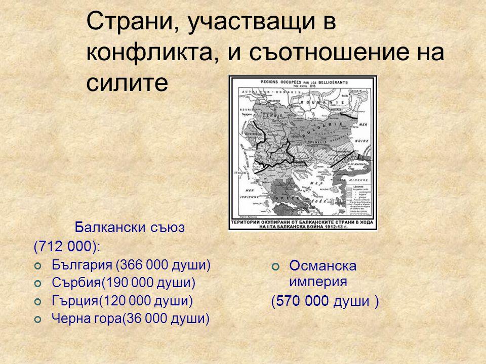 Страни, участващи в конфликта, и съотношение на силите Балкански съюз (712 000): България (366 000 души) Сърбия(190 000 души) Гърция(120 000 души) Черна гора(36 000 души) Османска империя (570 000 души )