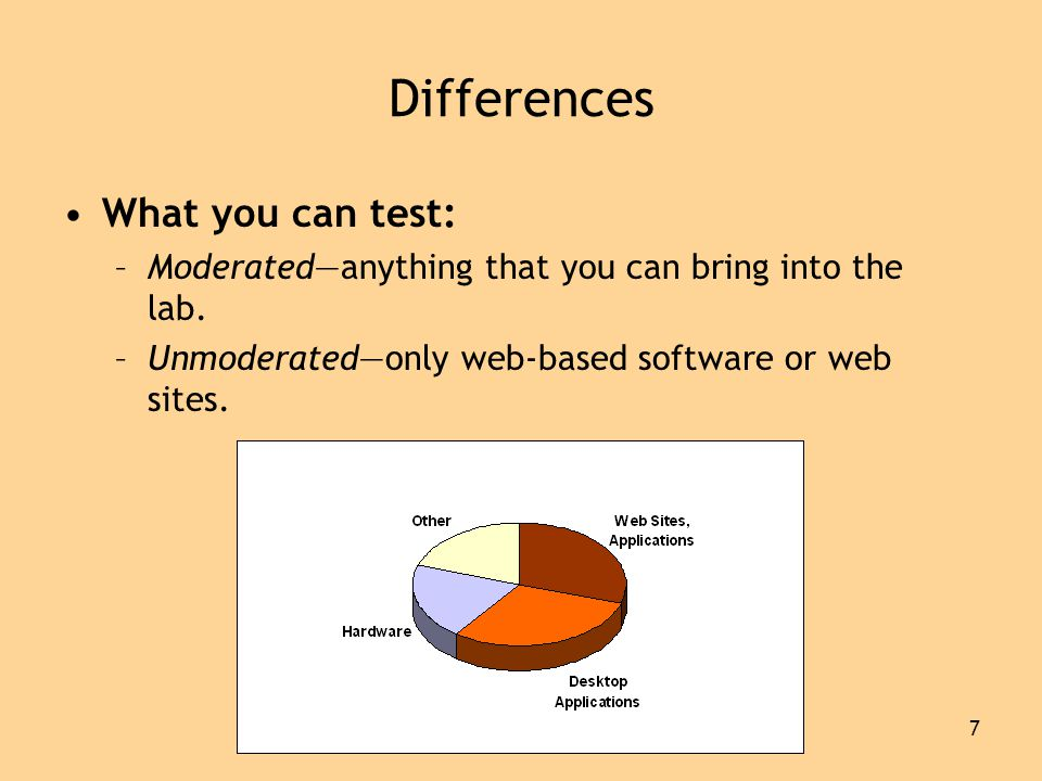 7 Differences •What you can test: –Moderated—anything that you can bring into the lab.