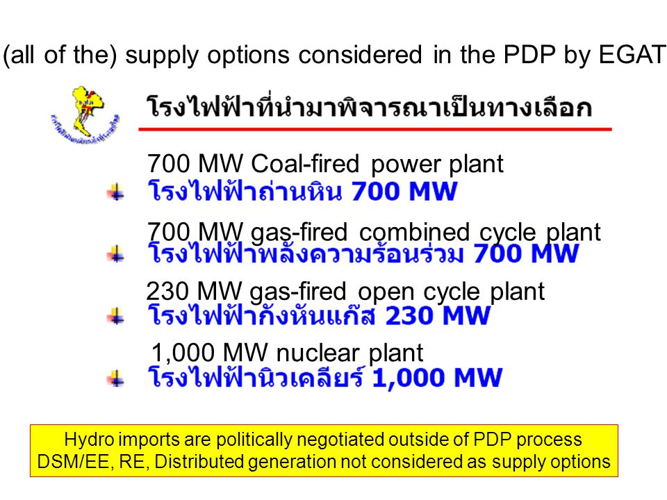 (all of the) supply options considered in the PDP by EGAT 700 MW Coal-fired power plant 700 MW gas-fired combined cycle plant 230 MW gas-fired open cycle plant 1,000 MW nuclear plant Hydro imports are politically negotiated outside of PDP process DSM/EE, RE, Distributed generation not considered as supply options