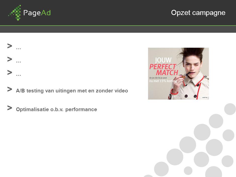 Opzet campagne > … > A/B testing van uitingen met en zonder video > Optimalisatie o.b.v.