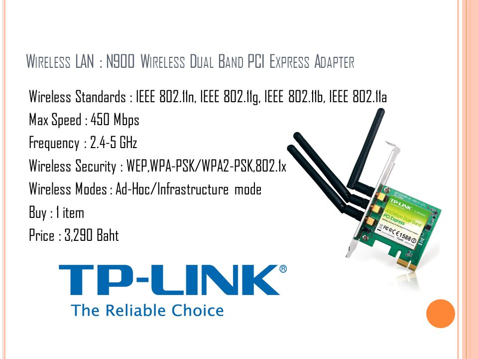 W IRELESS LAN : N900 W IRELESS D UAL B AND PCI E XPRESS A DAPTER Wireless Standards : IEEE 802.11n, IEEE 802.11g, IEEE 802.11b, IEEE 802.11a Max Speed