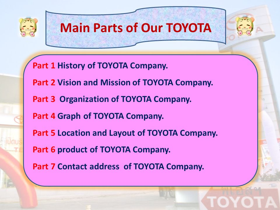 Part 1 History of TOYOTA Company. Part 2 Vision and Mission of TOYOTA Company. Part 3 Organization of TOYOTA Company. Part 4 Graph of TOYOTA Company.