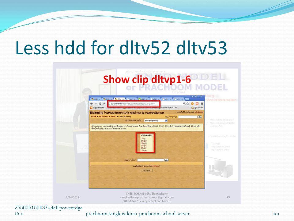 Less hdd for dltv52 dltv53 255605150437+dell poweredge t610prachoom rangkasikorn prachoom school server101