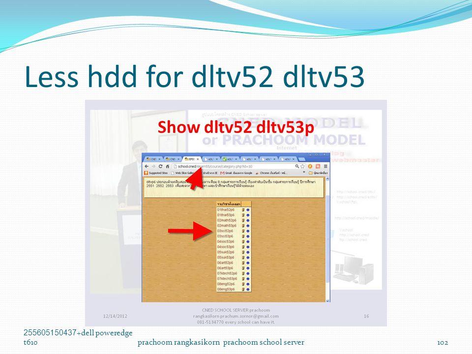 Less hdd for dltv52 dltv53 255605150437+dell poweredge t610prachoom rangkasikorn prachoom school server102