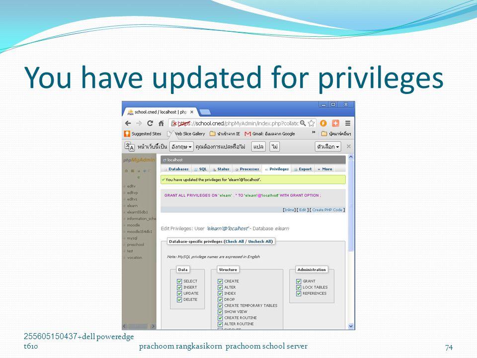 You have updated for privileges 255605150437+dell poweredge t610prachoom rangkasikorn prachoom school server74