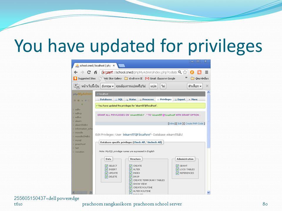You have updated for privileges 255605150437+dell poweredge t610prachoom rangkasikorn prachoom school server80