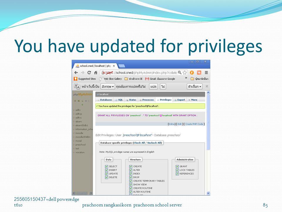 You have updated for privileges 255605150437+dell poweredge t610prachoom rangkasikorn prachoom school server85