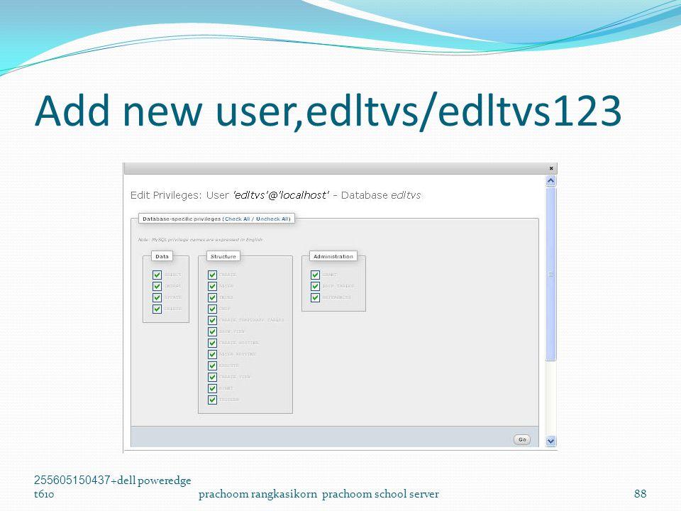 Add new user,edltvs/edltvs123 255605150437+dell poweredge t610prachoom rangkasikorn prachoom school server88