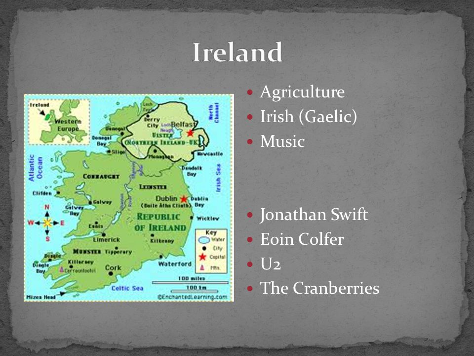  Agriculture  Irish (Gaelic)  Music  Jonathan Swift  Eoin Colfer  U2  The Cranberries