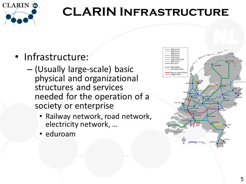 • Research infrastructure – Infrastructure intended for carrying out research: facilities, resources and related services used by the scientific community to conduct top-level research – Famous ones: Chile large telescope, CERN Large Hadron Collider CLARIN Infrastructure 6