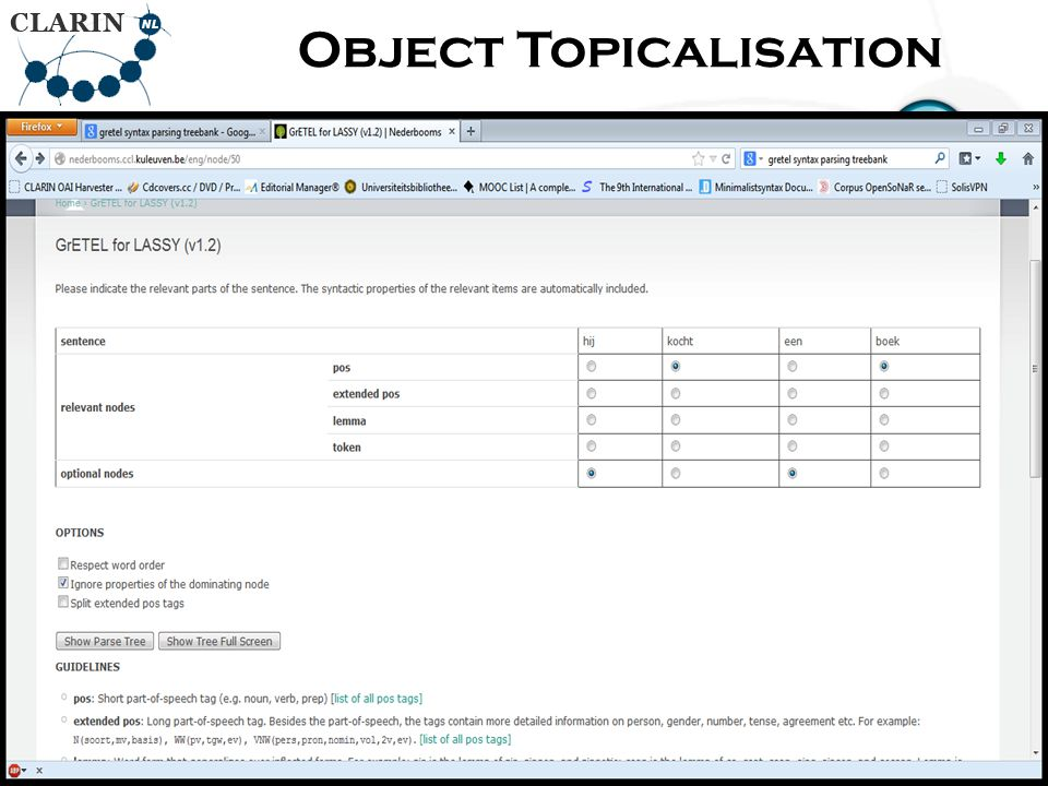 • RETURN Page Object Topicalisation 83