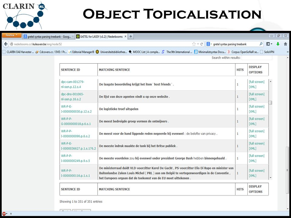 • RETURN Page Object Topicalisation 86