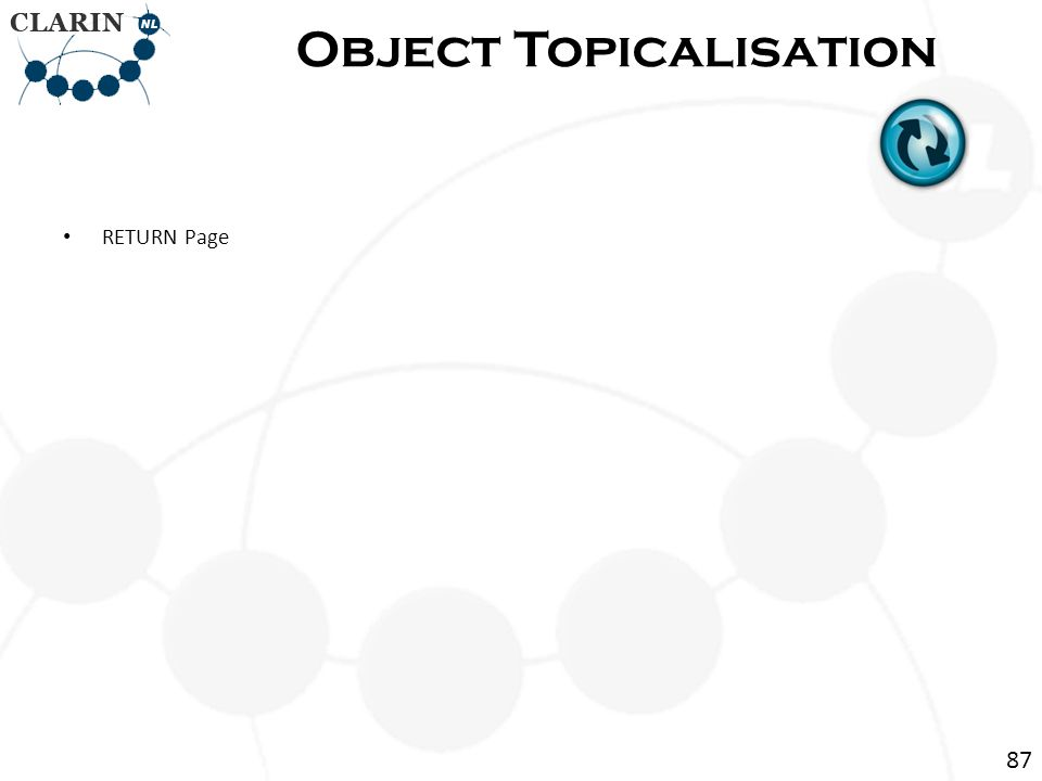 • RETURN Page Object Topicalisation 87