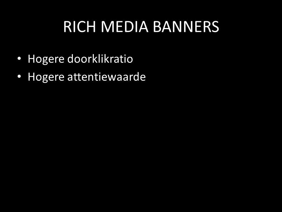 RICH MEDIA BANNERS • Hogere doorklikratio • Hogere attentiewaarde