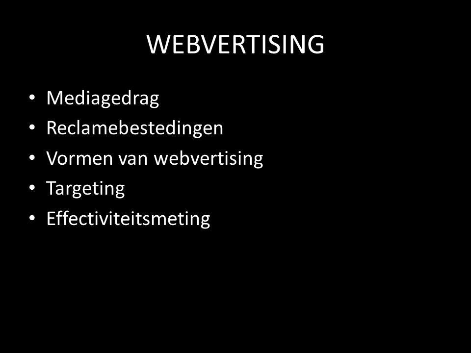 WEBVERTISING • Mediagedrag • Reclamebestedingen • Vormen van webvertising • Targeting • Effectiviteitsmeting