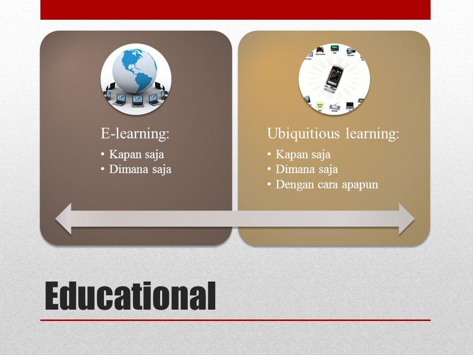 Educational E-learning: •Kapan saja •Dimana saja Ubiquitious learning: •Kapan saja •Dimana saja •Dengan cara apapun