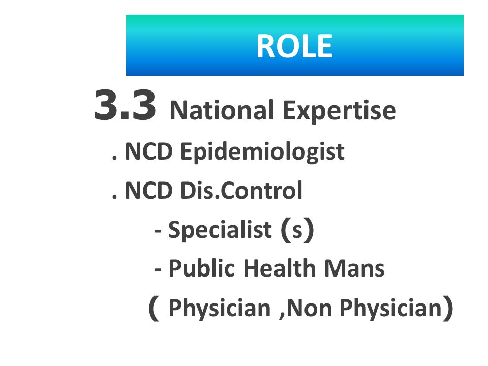 ROLE 3.3 National Expertise. NCD Epidemiologist.