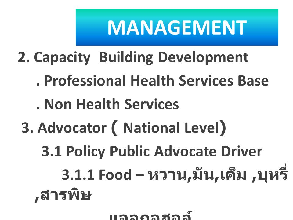 MANAGEMENT 2. Capacity Building Development. Professional Health Services Base. Non Health Services 3. Advocator ( National Level) 3.1 Policy Public A