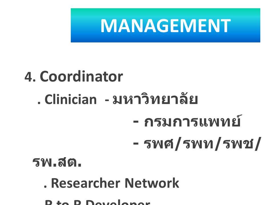 MANAGEMENT 4. Coordinator. Clinician - มหาวิทยาลัย - กรมการแพทย์ - รพศ / รพท / รพช / รพ. สต.. Researcher Network. R to R Developer