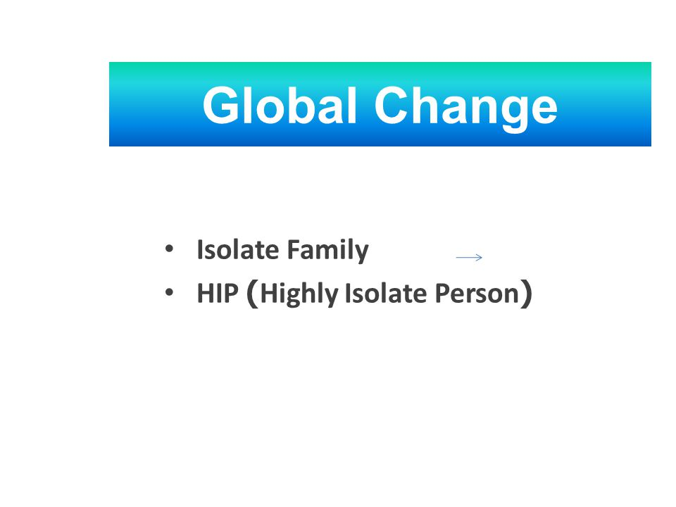 • Isolate Family • HIP (Highly Isolate Person) Global Change