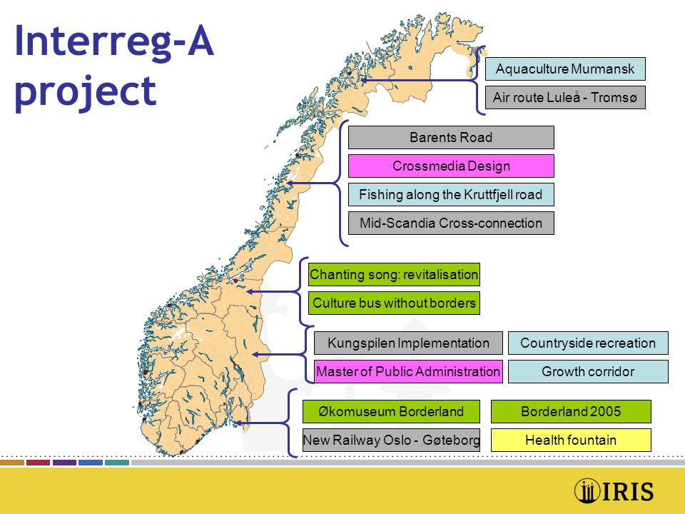 Interreg-A project Aquaculture Murmansk Air route Luleå - Tromsø Barents Road Crossmedia Design Fishing along the Kruttfjell road Chanting song: revitalisation Countryside recreationKungspilen Implementation Mid-Scandia Cross-connection Culture bus without borders Growth corridorMaster of Public Administration Health fountain Økomuseum Borderland New Railway Oslo - Gøteborg Borderland 2005