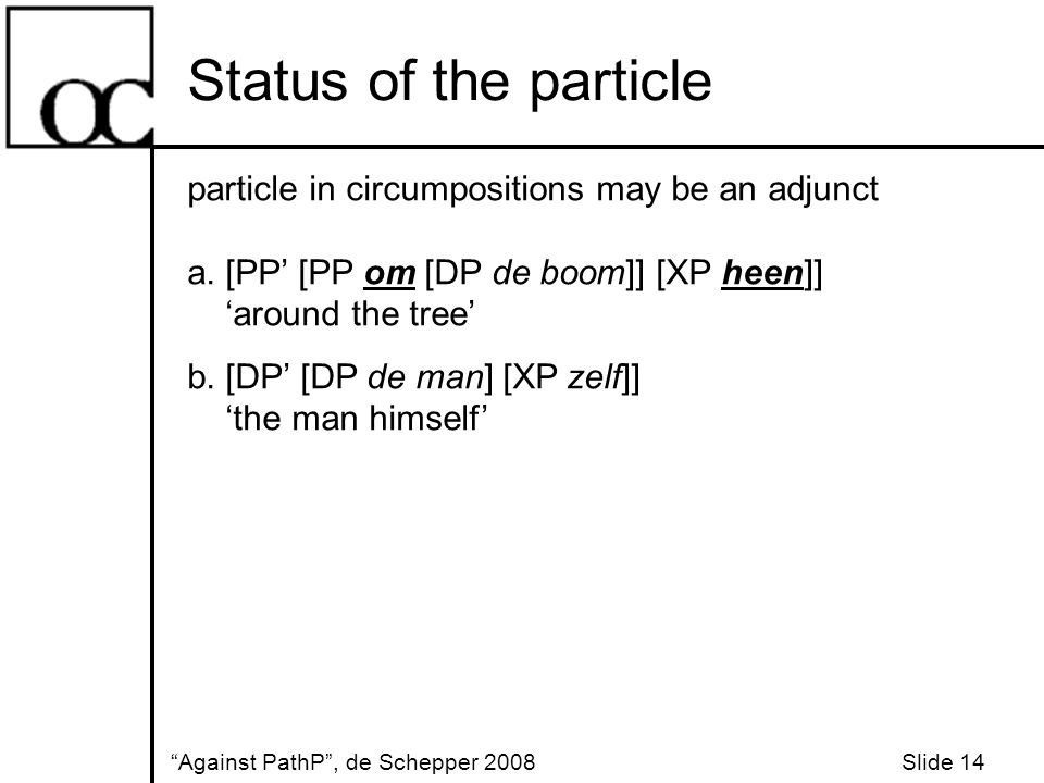 Status of the particle Against PathP , de Schepper 2008 Slide 14 particle in circumpositions may be an adjunct a.
