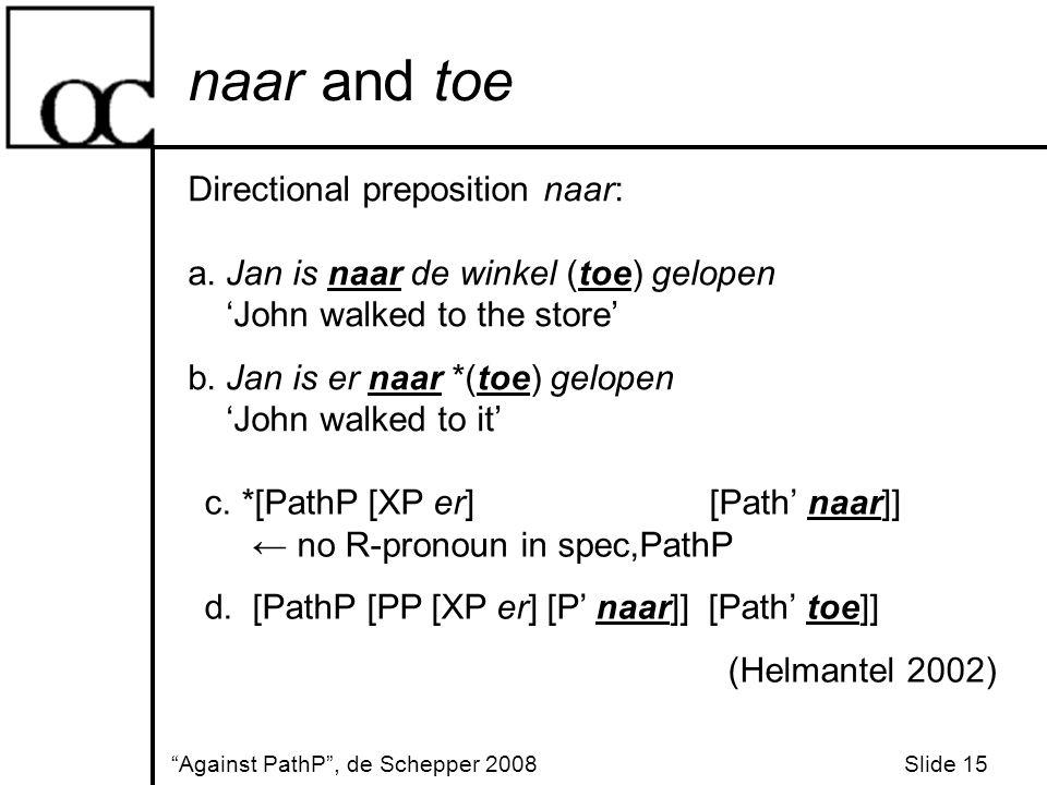 naar and toe Against PathP , de Schepper 2008 Slide 15 Directional preposition naar: a.