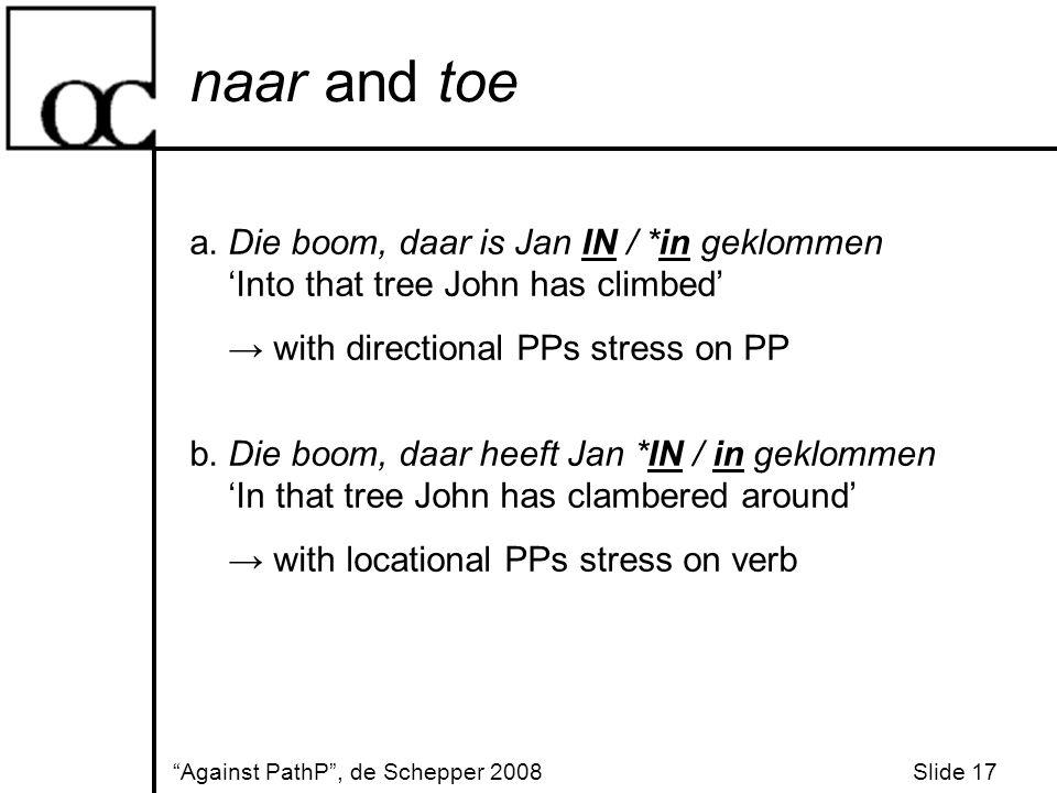 naar and toe Against PathP , de Schepper 2008 Slide 17 a.