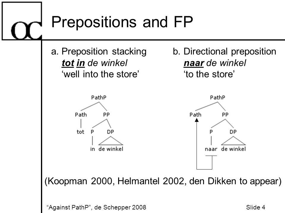 Prepositions and FP Against PathP , de Schepper 2008 Slide 4 a.