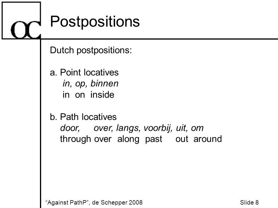 Postpositions Against PathP , de Schepper 2008 Slide 8 Dutch postpositions: a.