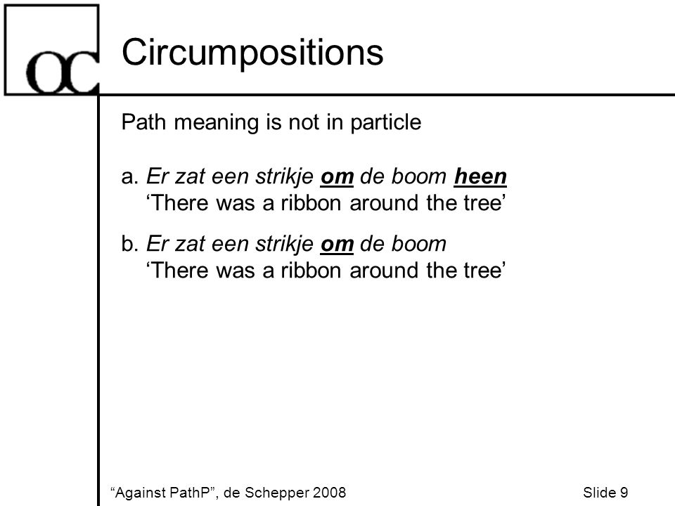 Conclusions Against PathP , de Schepper 2008 Slide 20 PathP is not universal DPs in postpositions do not move to get a path interpretation Particles in circumpositions are not inherently directional Preposition stacking is just preposition stacking Ungrammaticality of directional ernaar can be accounted for without appealing to PathP There is no PathP in Dutch