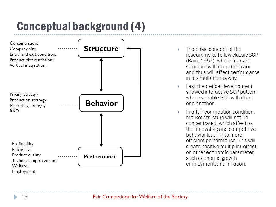 Conceptual background (4) Fair Competition for Welfare of the Society  The basic concept of the research is to follow classic SCP (Bain, 1957), where