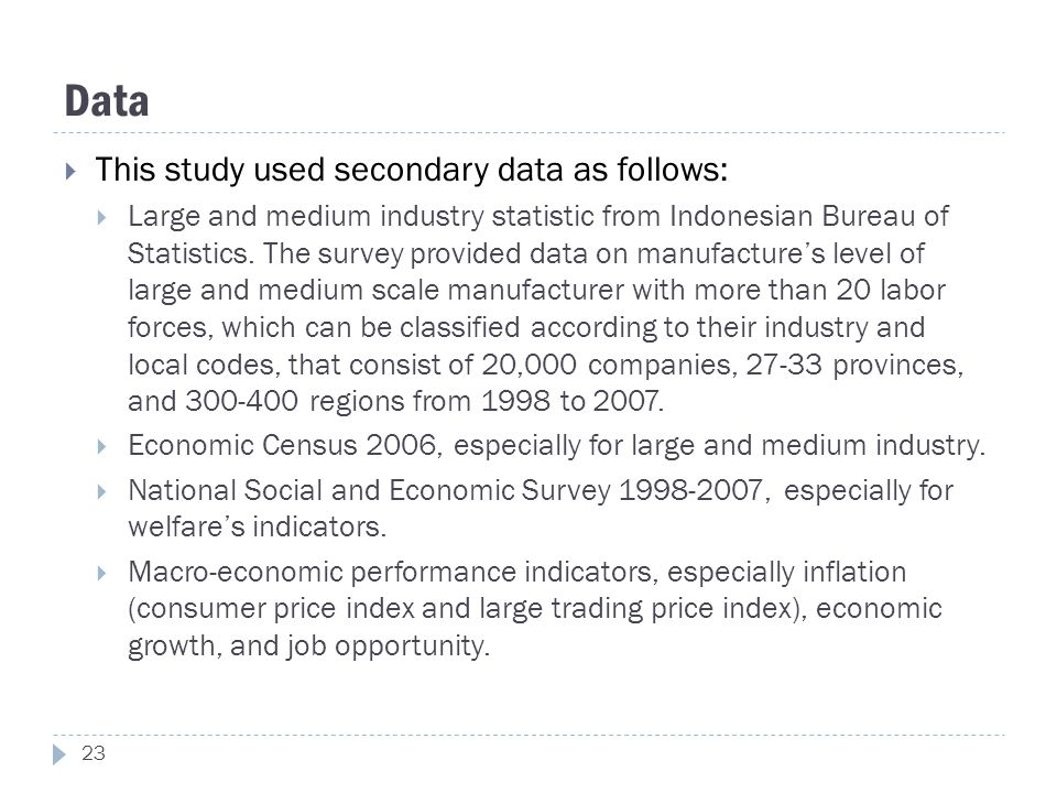 Data  This study used secondary data as follows:  Large and medium industry statistic from Indonesian Bureau of Statistics. The survey provided data