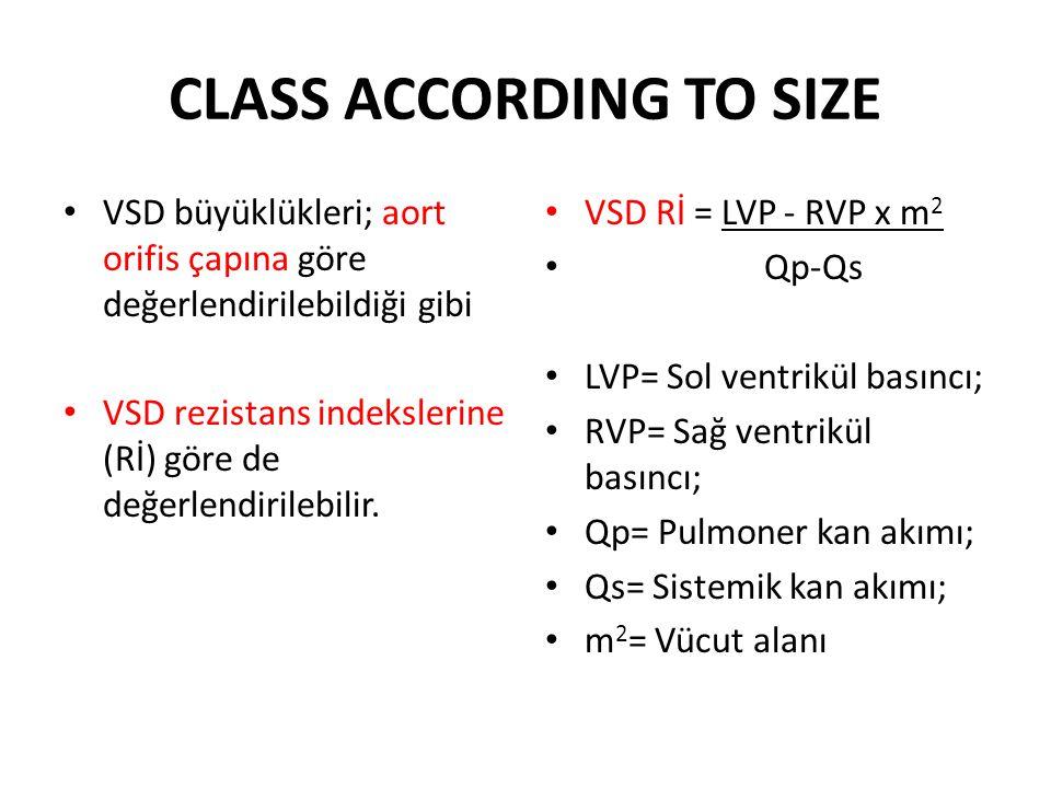 CLASS ACCORDING TO SIZE • VSD büyüklükleri; aort orifis çapına göre değerlendirilebildiği gibi • VSD rezistans indekslerine (Rİ) göre de değerlendiril