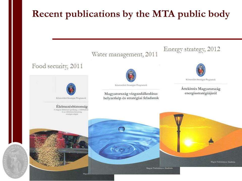 Recent publications by the MTA public body Food security, 2011 Water management, 2011 Energy strategy, 2012