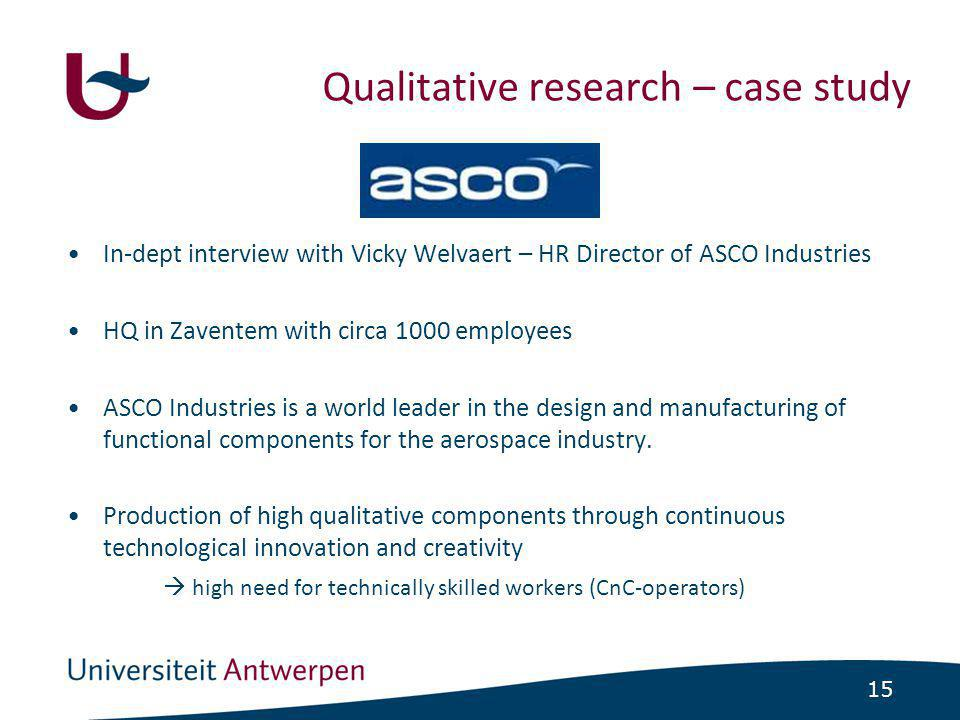15 •In-dept interview with Vicky Welvaert – HR Director of ASCO Industries •HQ in Zaventem with circa 1000 employees •ASCO Industries is a world leade