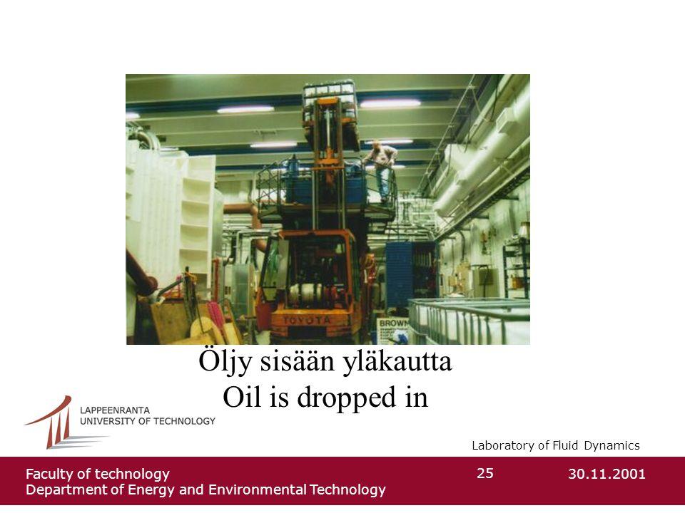 Laboratory of Fluid Dynamics 30.11.2001Faculty of technology Department of Energy and Environmental Technology 25 Öljy sisään yläkautta Oil is dropped in