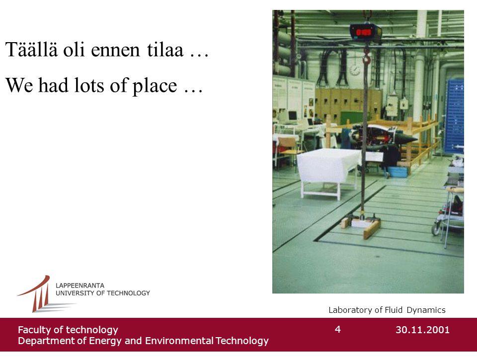 Laboratory of Fluid Dynamics 30.11.2001Faculty of technology Department of Energy and Environmental Technology 4 Täällä oli ennen tilaa … We had lots of place …