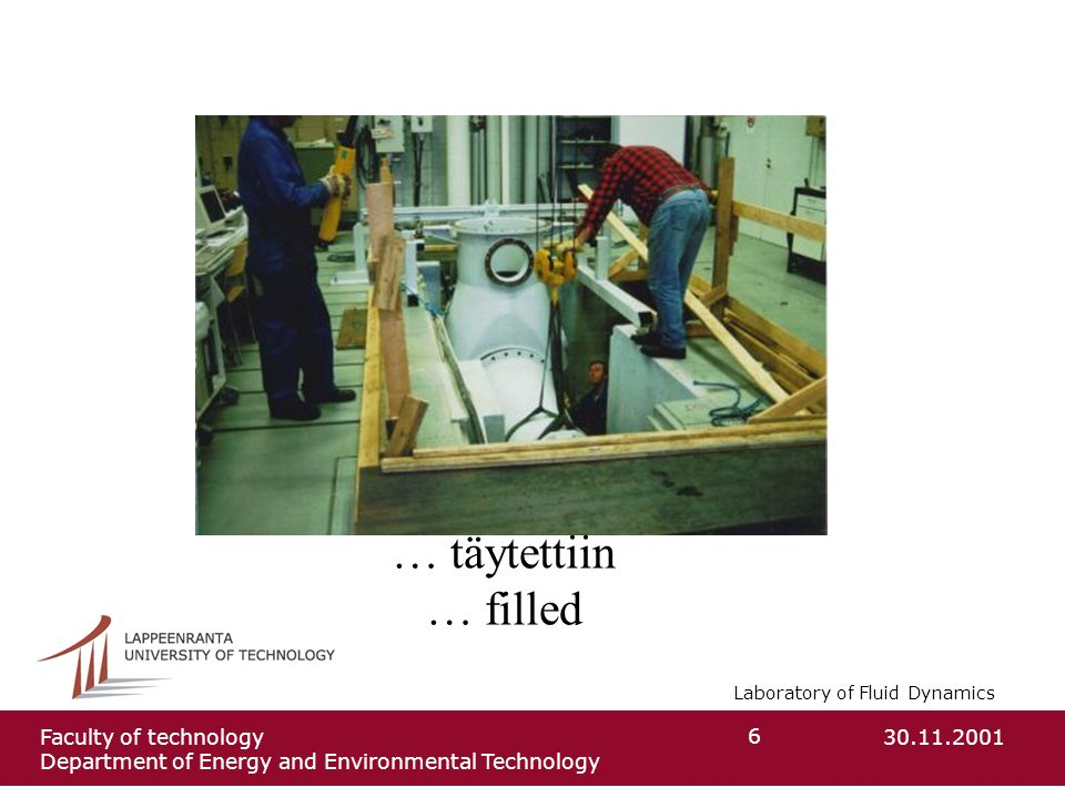 Laboratory of Fluid Dynamics 30.11.2001Faculty of technology Department of Energy and Environmental Technology 6 … täytettiin … filled