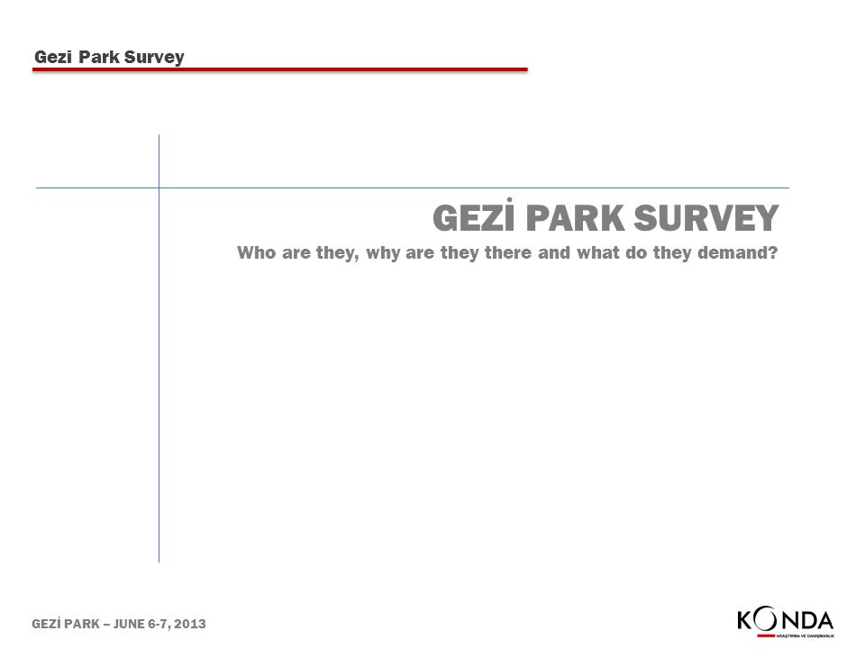 GEZİ PARK – JUNE 6-7, 2013 GEZİ PARK SURVEY Who are they, why are they there and what do they demand.