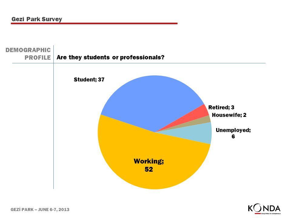 GEZİ PARK – JUNE 6-7, 2013 Are they students or professionals? Gezi Park Survey DEMOGRAPHIC PROFILE