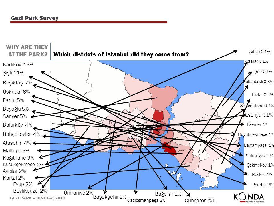 GEZİ PARK – JUNE 6-7, 2013 Kadıköy 13% Şişli 11% Beşiktaş 7% Üsküdar 6% Fatih 5% Beyoğlu 5% Sarıyer 5% Bakırköy 4% Bahçelievler 4% Ataşehir 4% Maltepe 3% Kağıthane 3% Küçükçekmece 2% Avcılar 2% Kartal 2% Eyüp 2% Beylikdüzü 2% Ümraniye 2% Başakşehir 2% Gaziosmanpaşa 2% Bağcılar 1% Güngören %1 Pendik 1% Beykoz 1% Çekmeköy 1% Sultangazi 1% Bayrampaşa 1% Büyükçekmece 1% Esenler 1% Esenyurt 1% Sancaktepe 0.4% Tuzla 0.4% Sultanbeyli 0.3% Şile 0,1% Adalar 0.1% Silivri 0.1% Which districts of Istanbul did they come from.