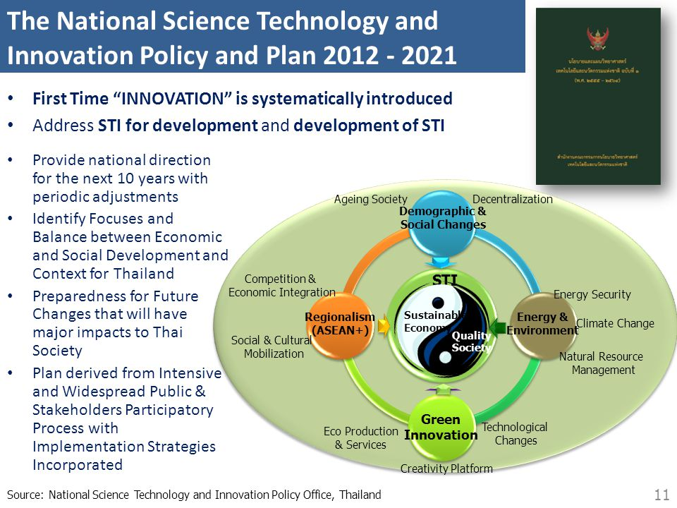 The National Science Technology and Innovation Policy and Plan 2012 - 2021 • Provide national direction for the next 10 years with periodic adjustment