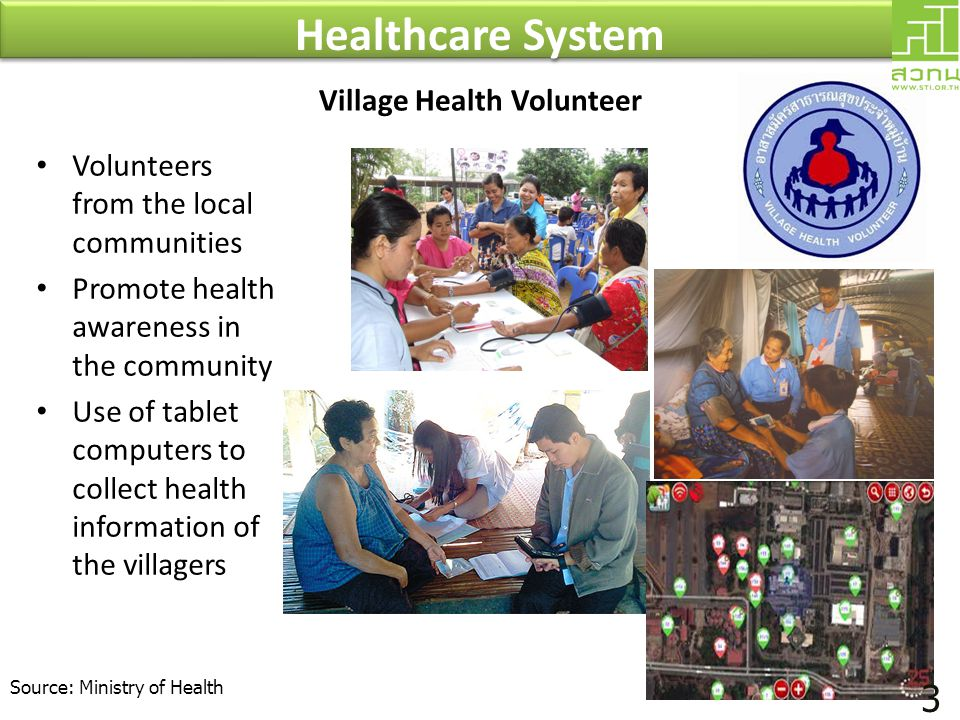 • Volunteers from the local communities • Promote health awareness in the community • Use of tablet computers to collect health information of the vil