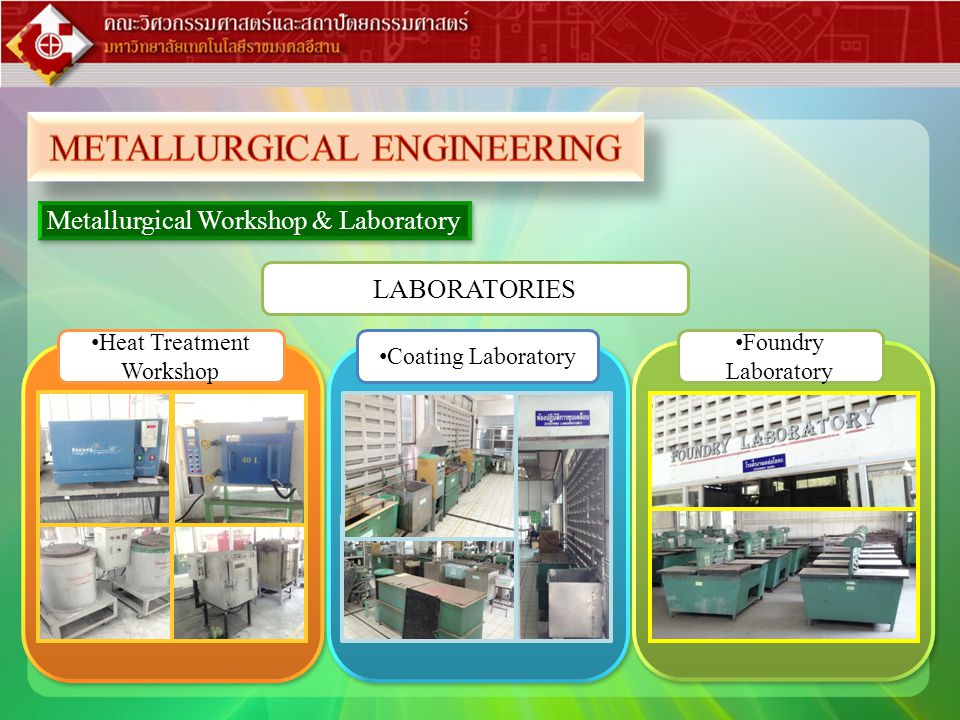 • Heat Treatment Workshop • Foundry Laboratory • Coating Laboratory Metallurgical Workshop & Laboratory LABORATORIES